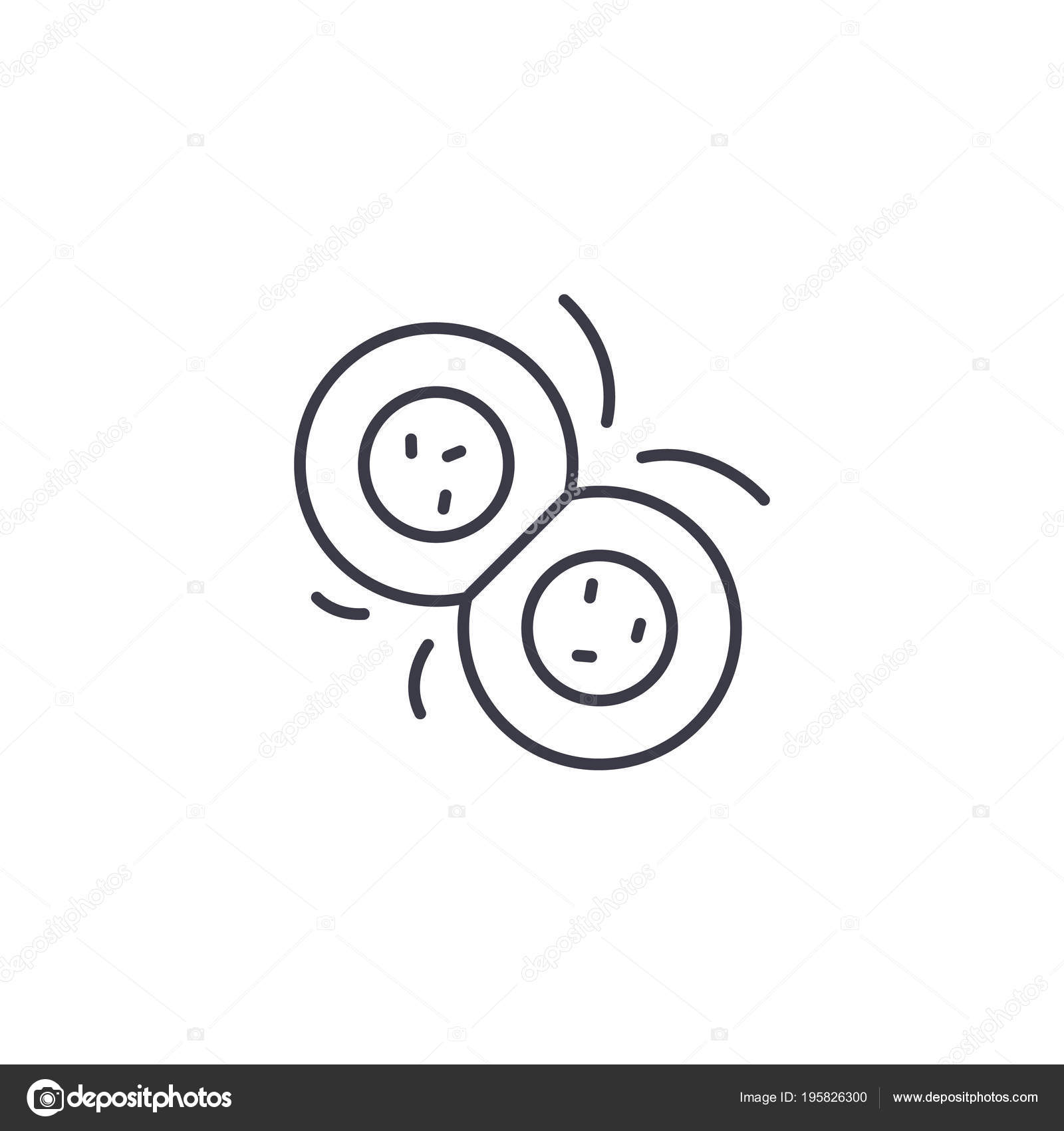 Cell division linear icon concept. Cell division line vector sign ...