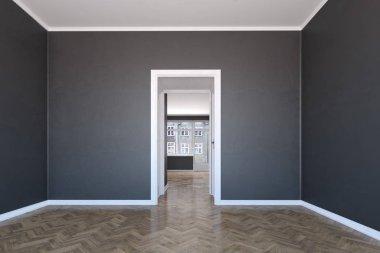 Scandinavian interior with wooden floor and dark walls