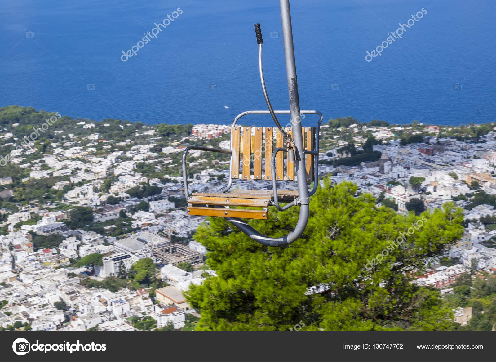 chairlift up to mount solaro in anacapri italy stock photo