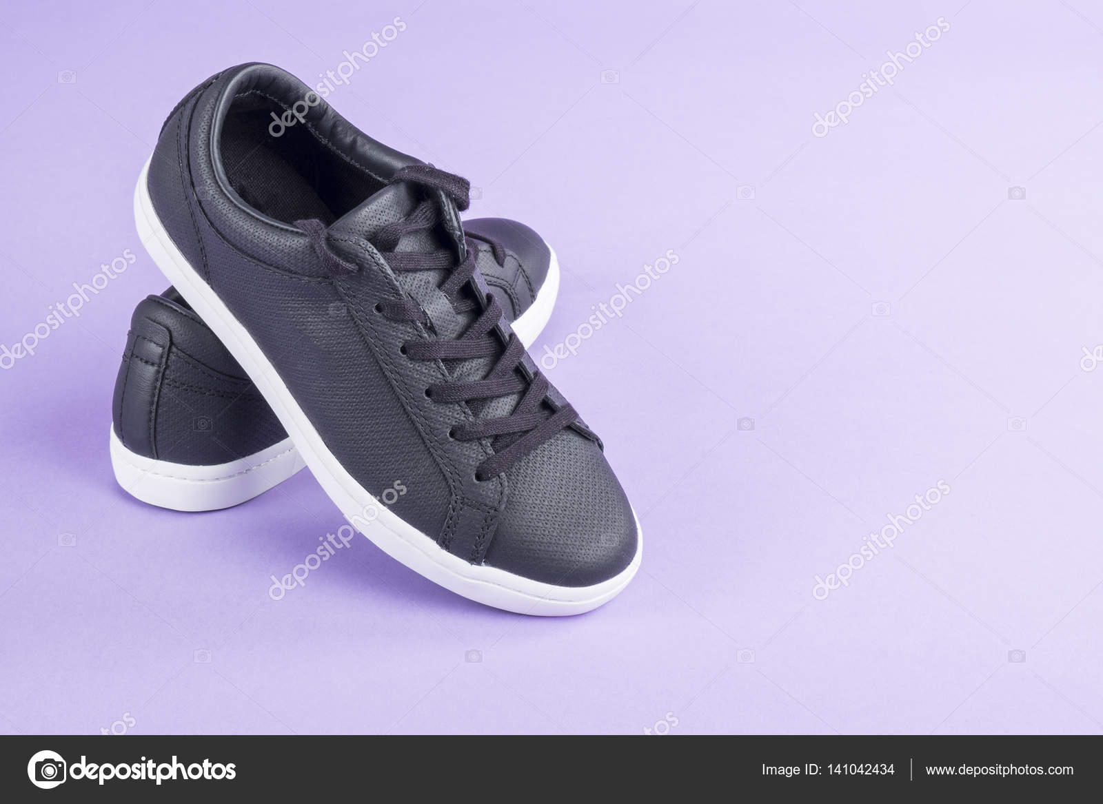 Sporty Black Leather Shoes on Purple
