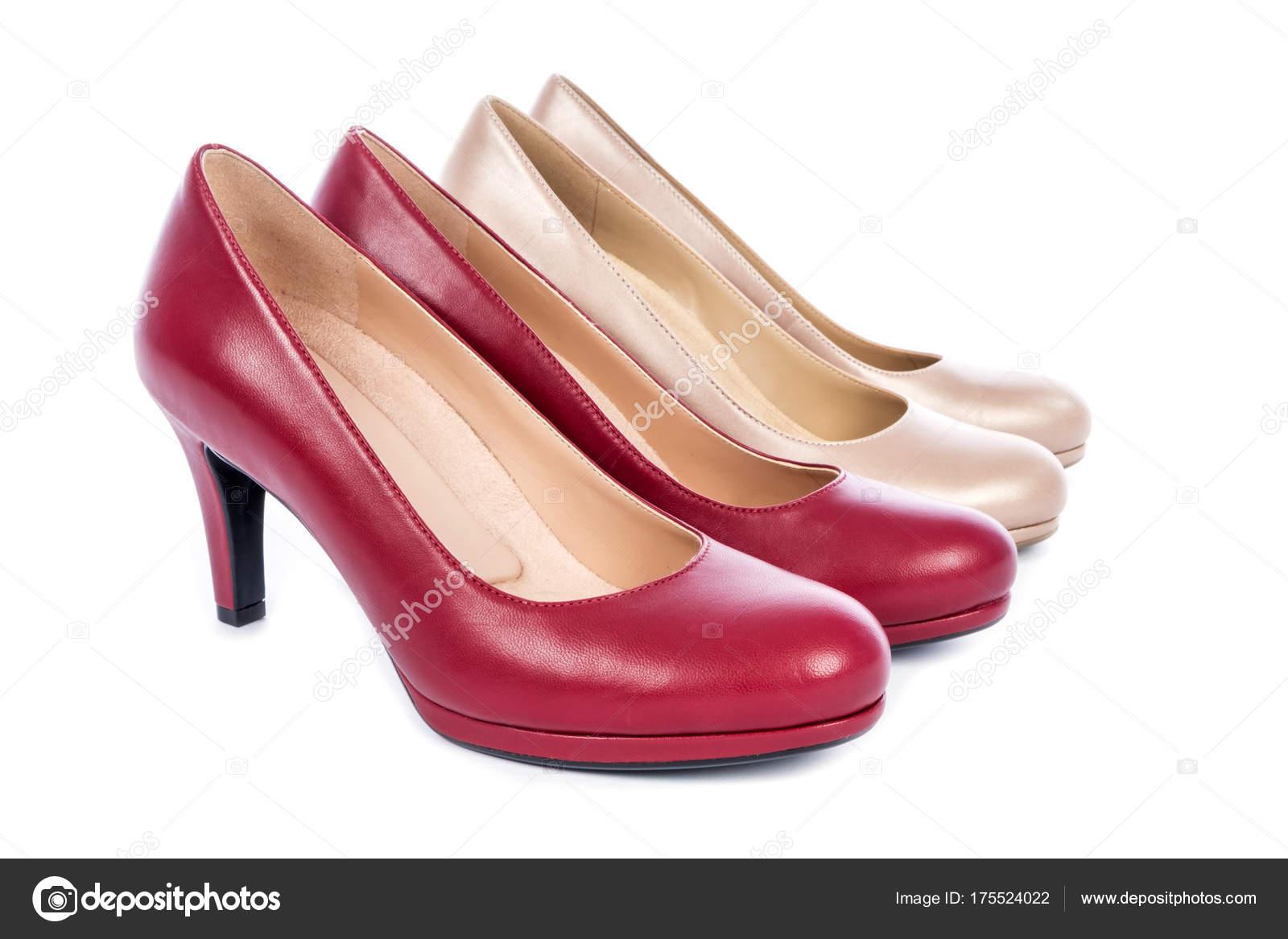 Moda — Dos Mujer Bomba Zapatos Aislados Pares Fotos Blanco Stock De Orrw0t