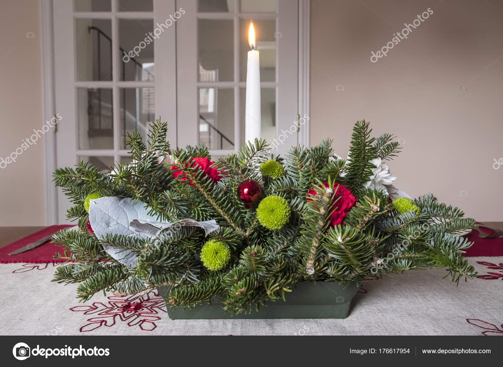Arreglo Mesa Navidad Centro Mesa Con Flores Ramas Imperecederas Vela