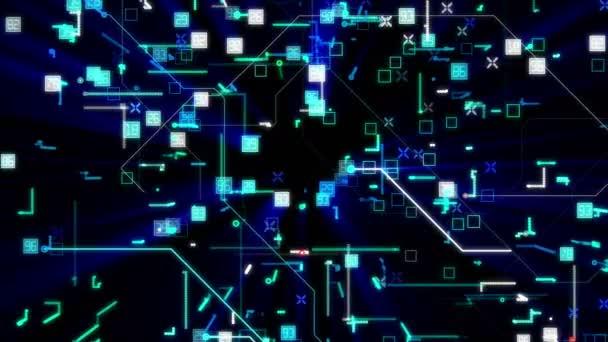 Techno číslice na tmavě modrém pozadí videa