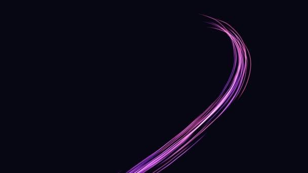 A neon szív vonalakból áll. Lila 4K animáció sötét háttérrel