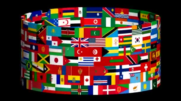 Flags of the world rotate. 3d animation. Unique video.