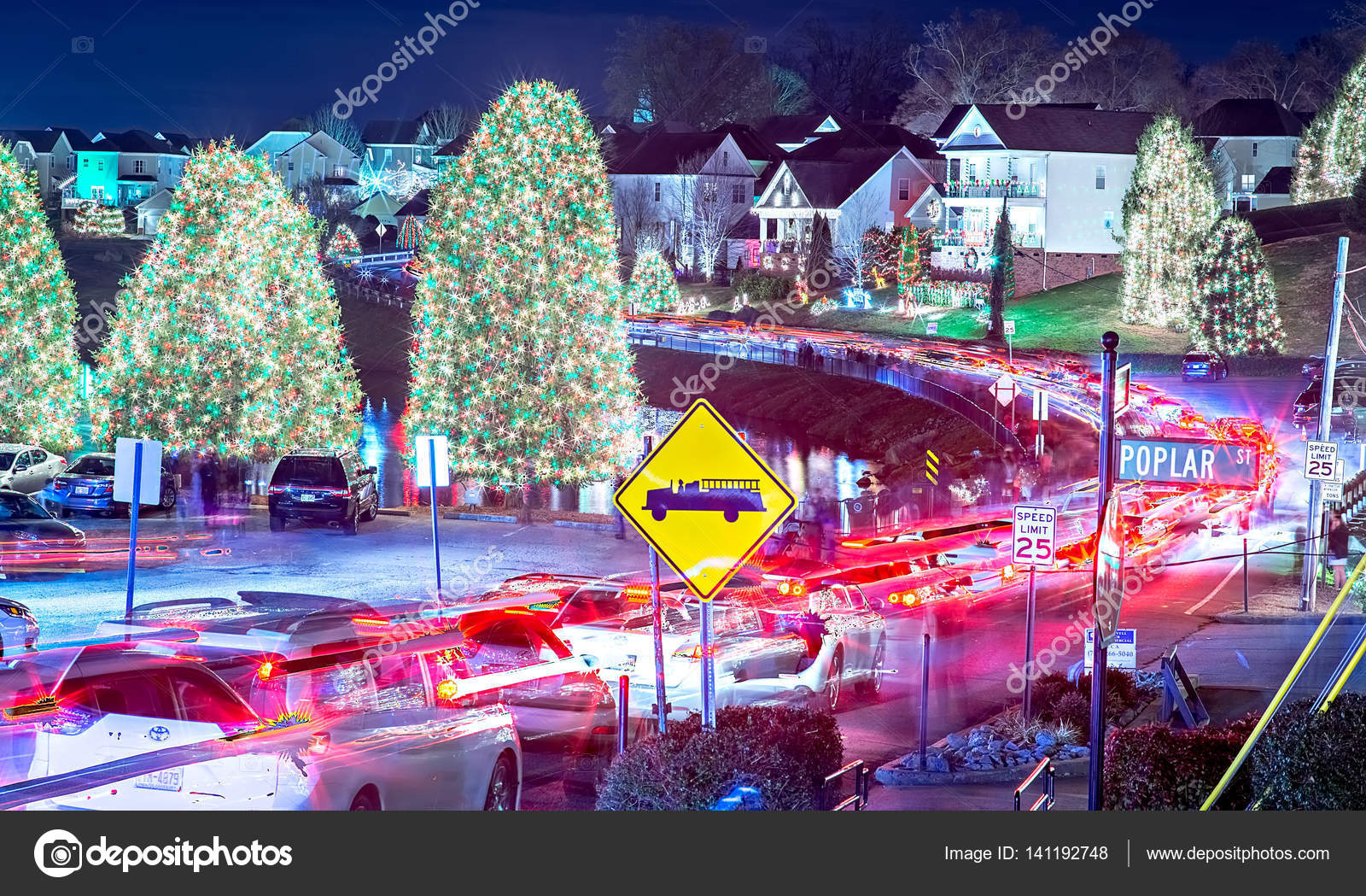 outdoor christmas decorations at christmas town usa stock photo - Christmas Town Decorations