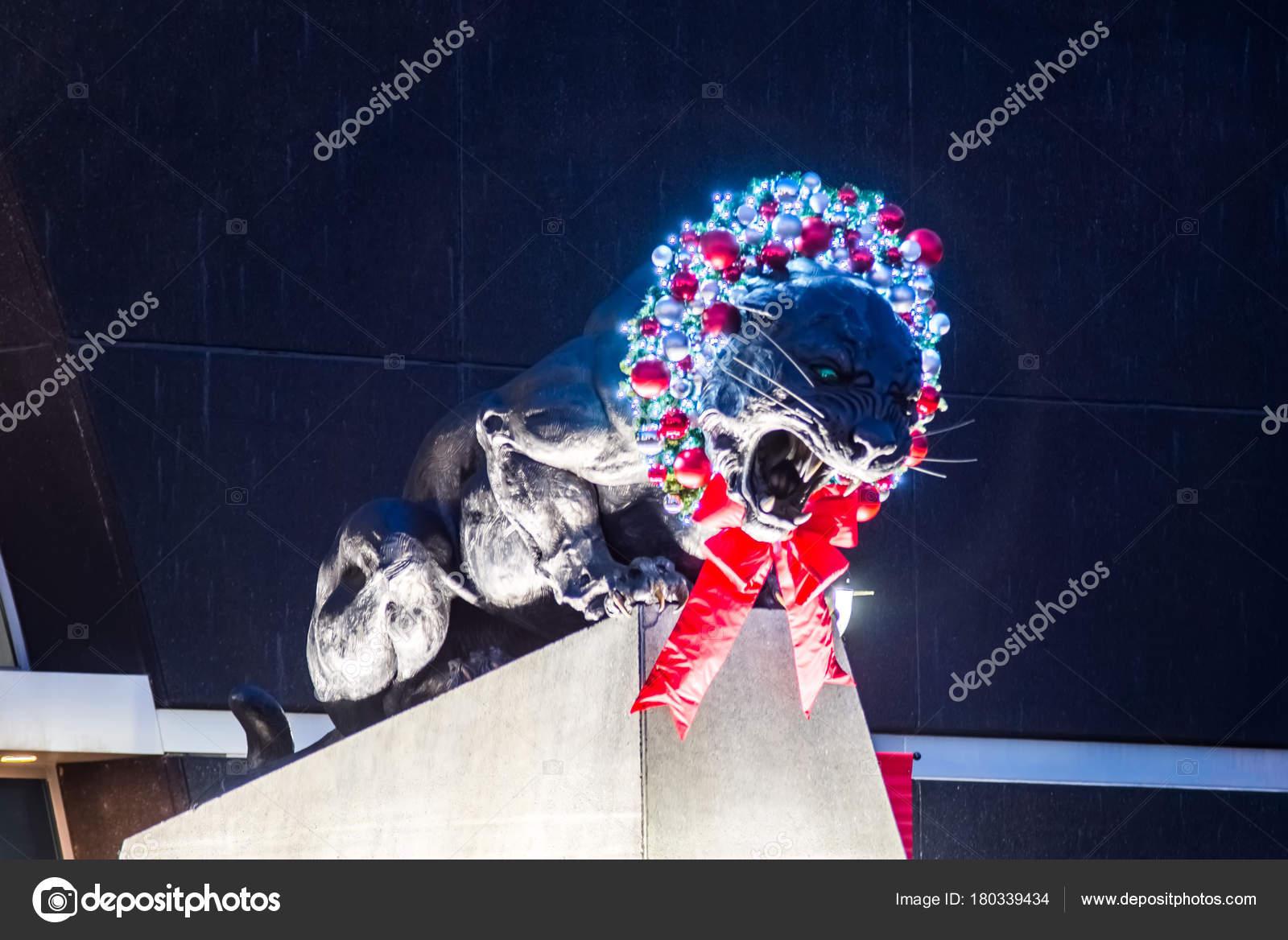 Christmas decorations around carolina panthers stadium in charlotte nc– stock image