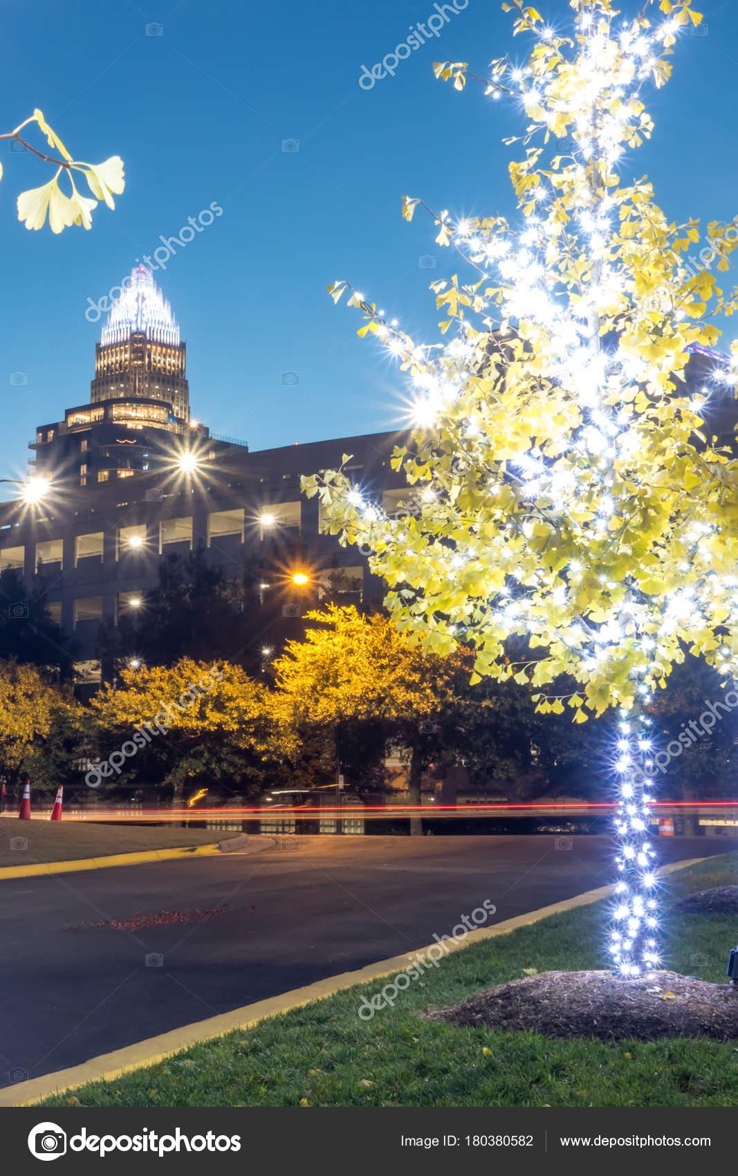 Christmas season decorations around charlotte north carolina and panther stadium– stock image