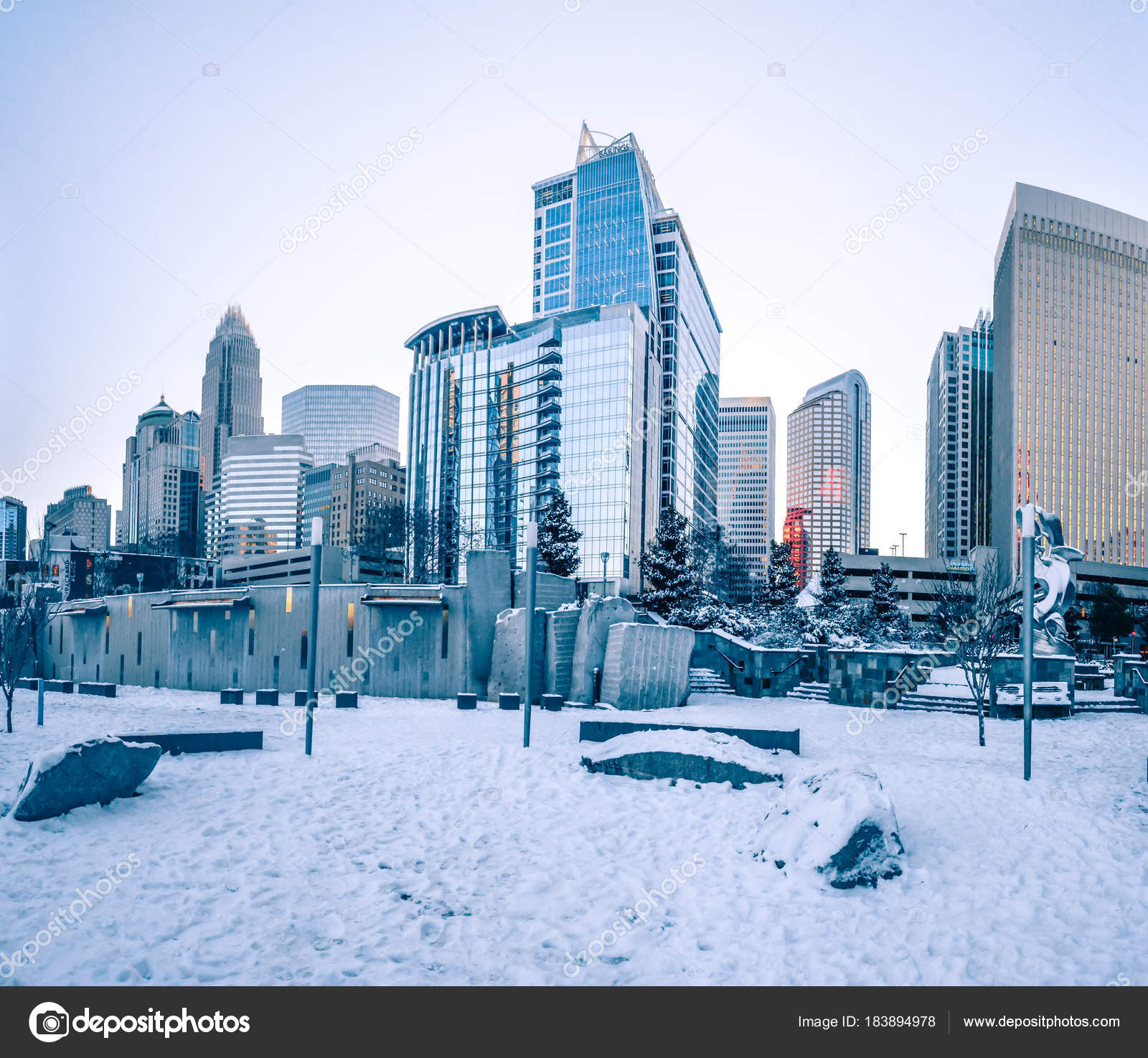 Charlotte Nc Usa Skyline During And After Winter Snow Storm In J