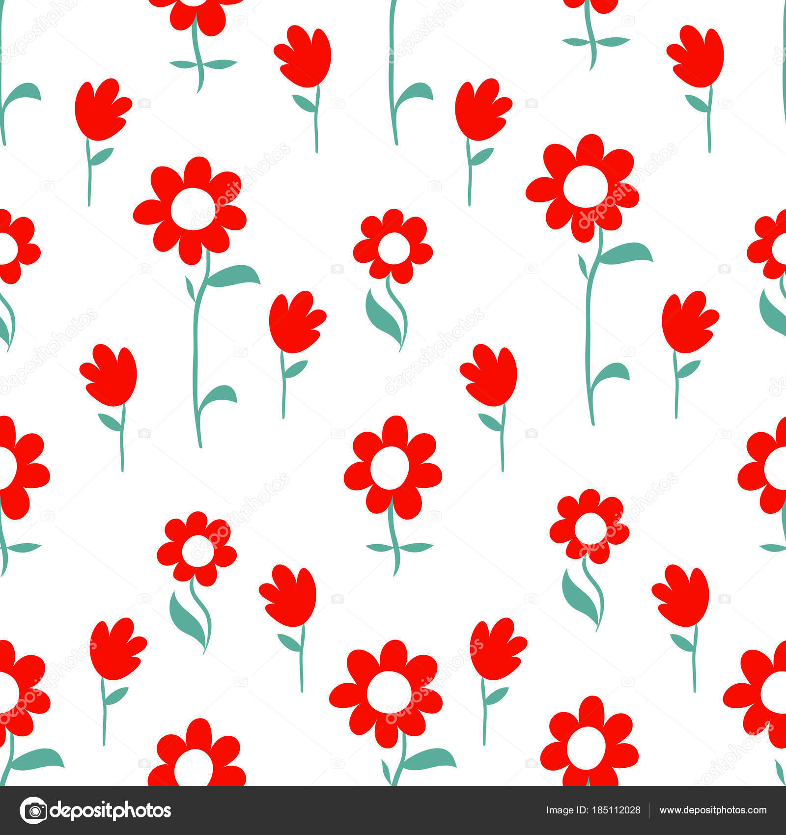 Vector Floral Pattern Design Hand Drawn Lovely Flowers Cute Contemporary Seamless Background And Print For Kids And Babies Cloth Design Stock Vector C Duddi 185112028