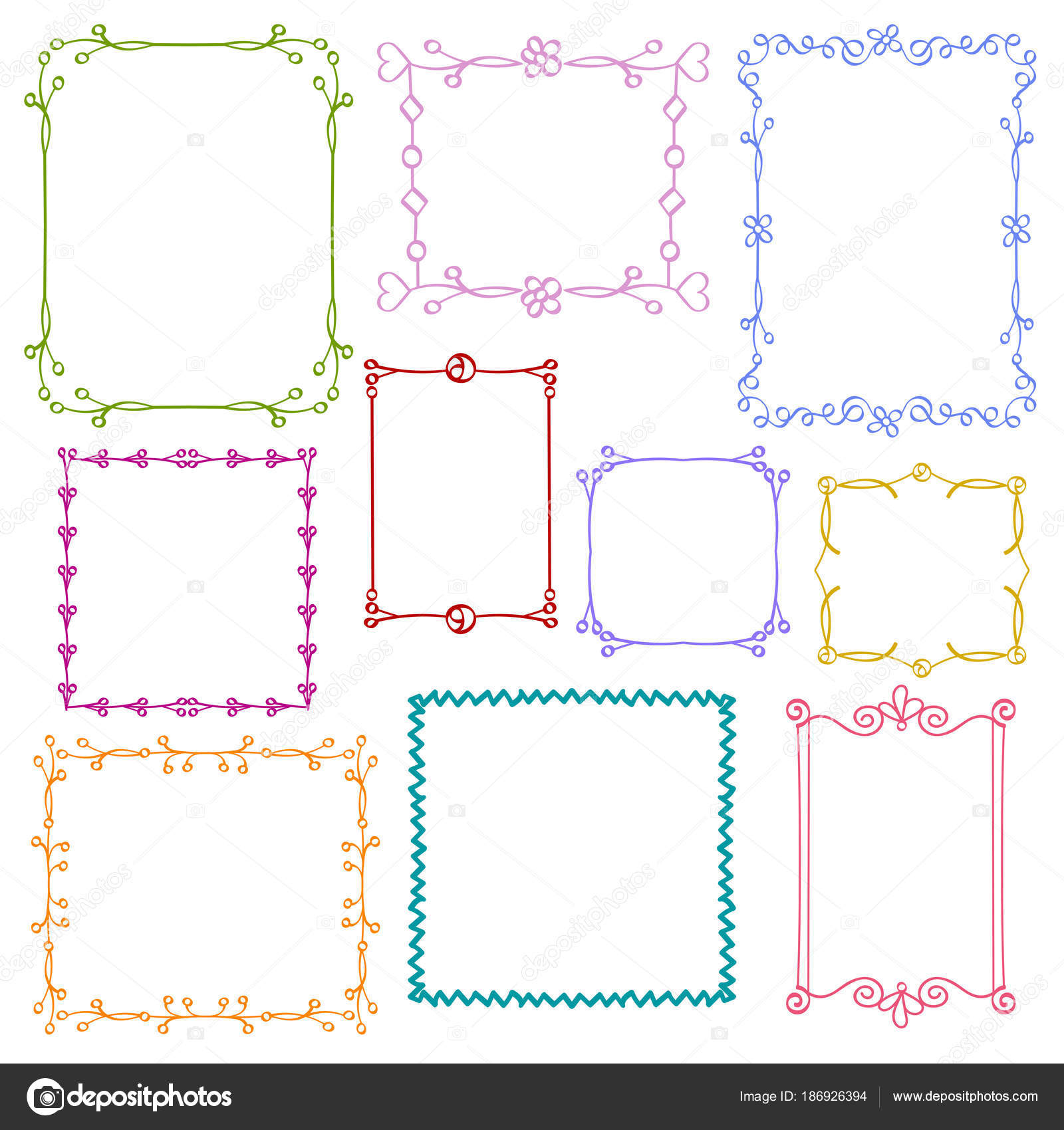 Babies and Kids photo frames vector set, Childrens drawing doodle ...