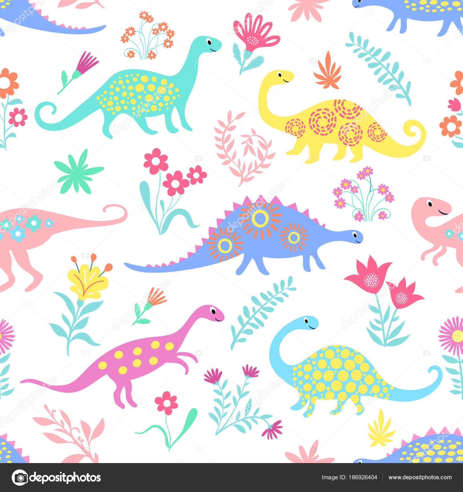 Patrón de niños lindos de dinosaurios para niños y niñas, colores ...