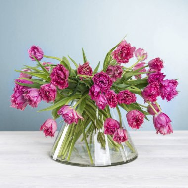 Tulip bouquet in vase on white wood table