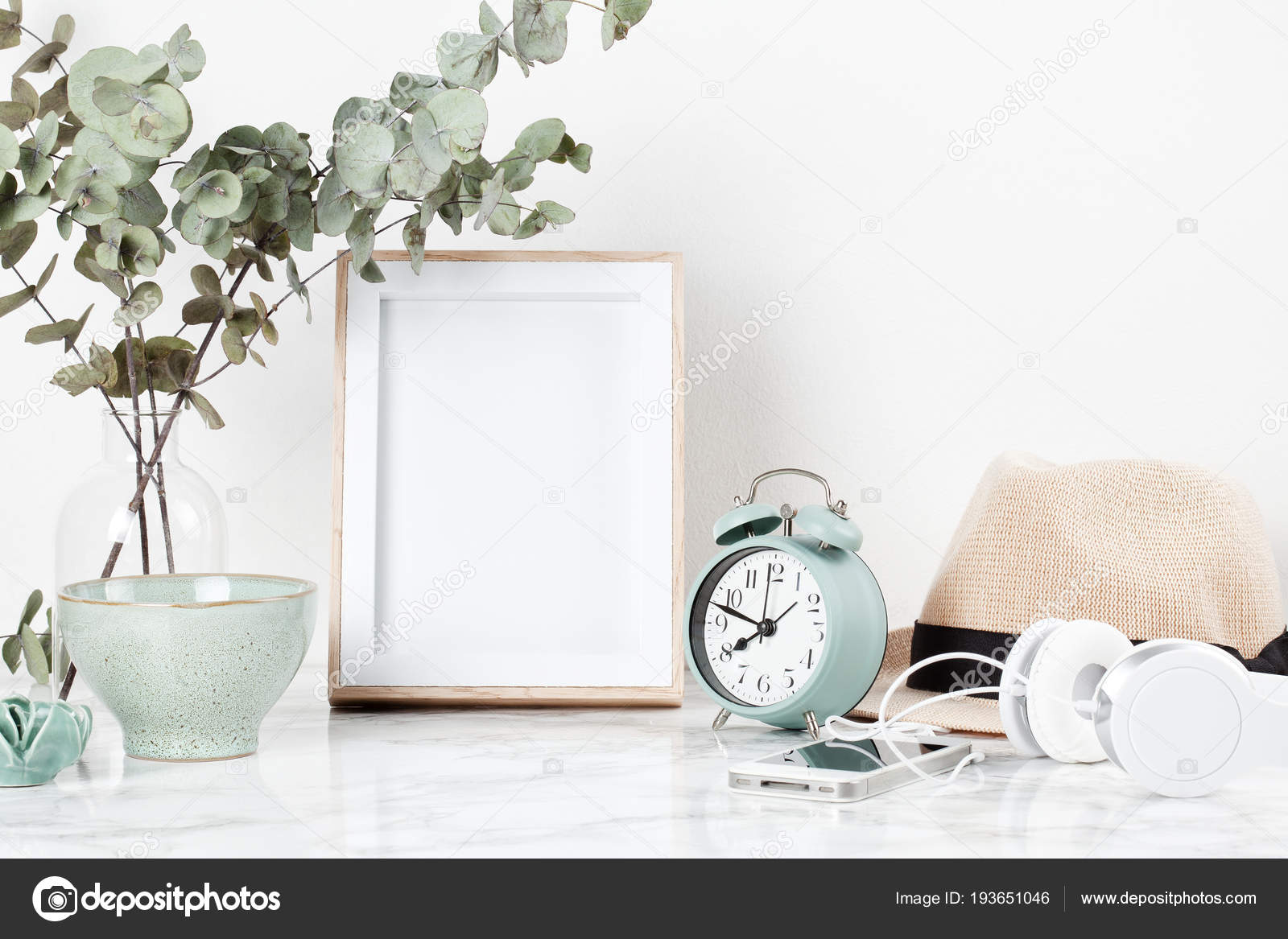 poster frame mockup front view decor elements flowers blank copy