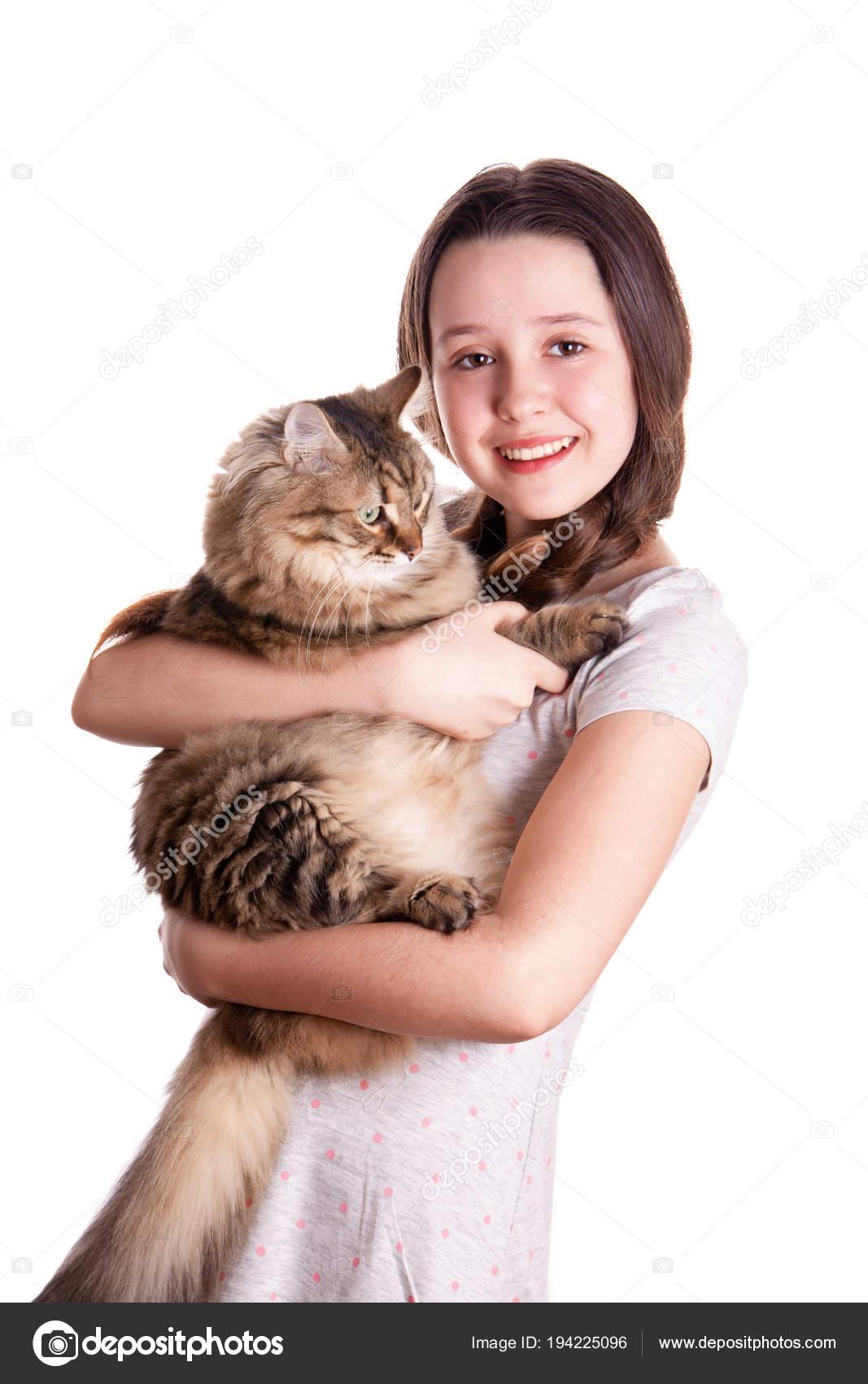 Dospívající bílá dívka kočička
