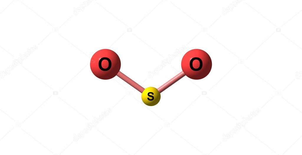 Sulfur Dioxide Molecular Structure Isolated On White Stock Photo