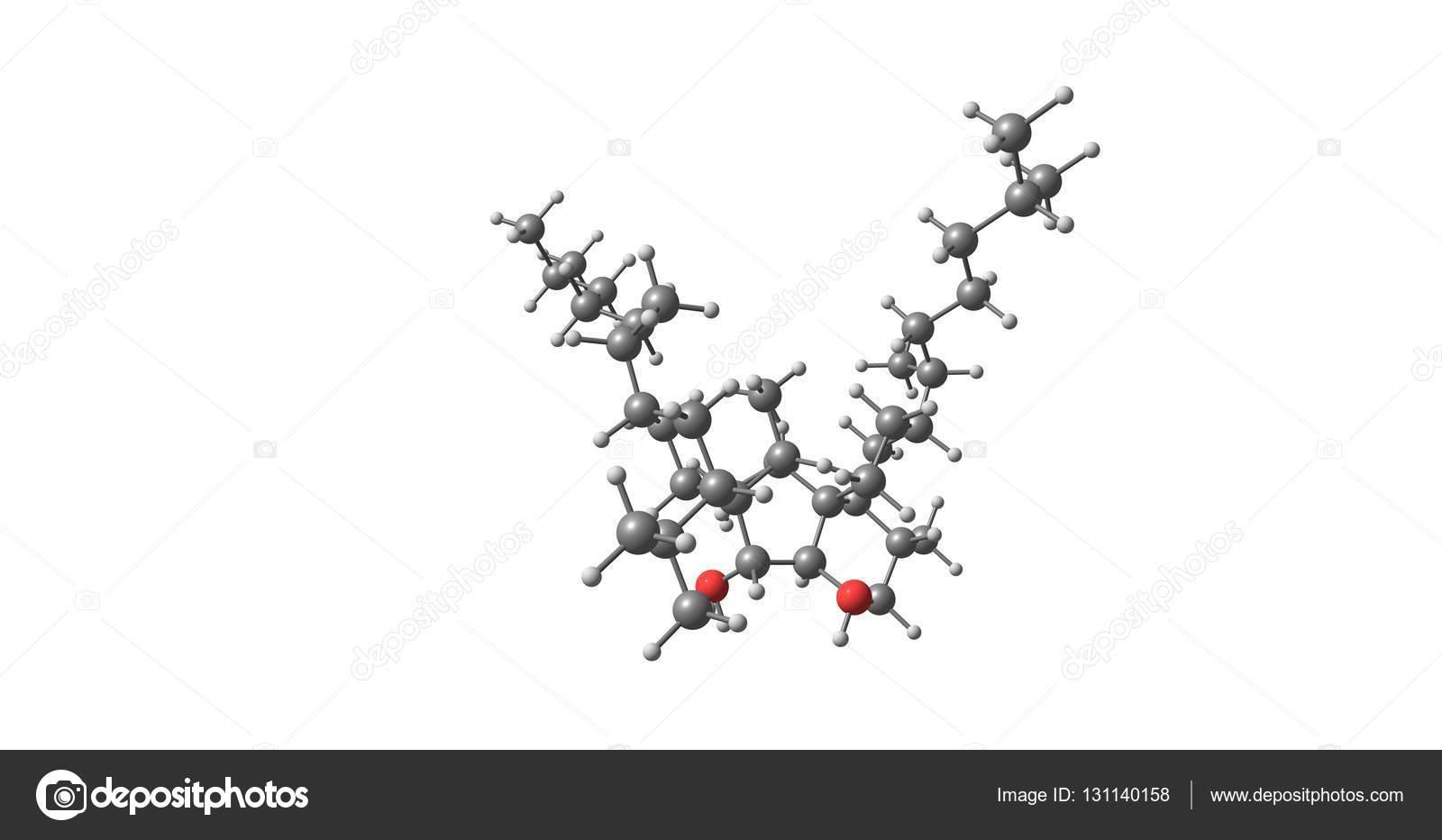 Bilobol Estructura Molecular Aislado En Blanco Fotos De