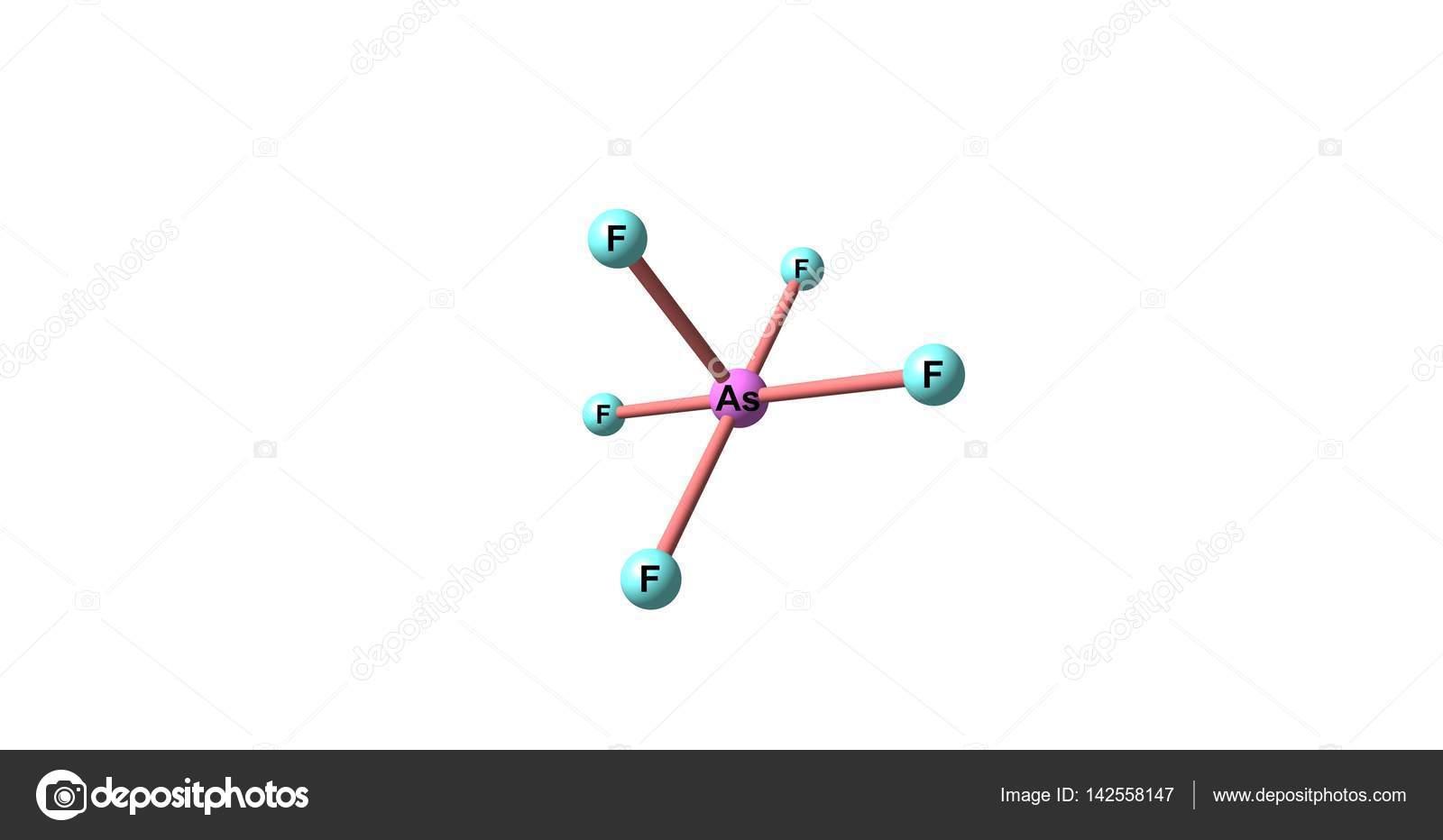 白で隔離五フッ化ヒ素の分子構造...