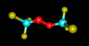 Bistrifluoromethylperoxide molecular structure isolated on black