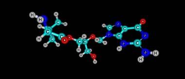 Valganciclovir molecular structure isolated on black
