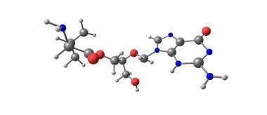 Valganciclovir molecular structure isolated on white