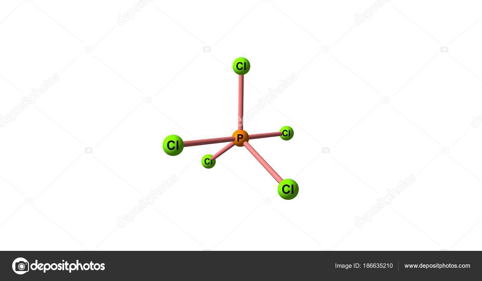 Phosphorus Pentachloride Molecular Structure Isolated On White