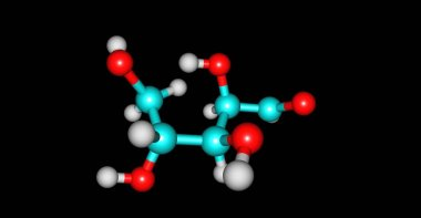 Xylose molecular structure isolated on black