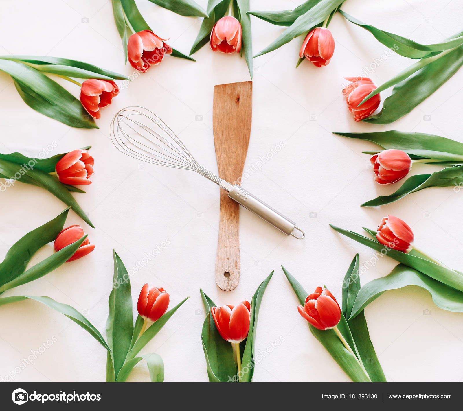 Background Red Tulips Kitchen Utensil Clock — Stock Photo ...