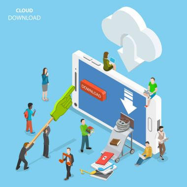 Cloud download flat isometric vector. People are downloading some content like video, music, books, films, documents, from the cloud to the smartphone by pushing corresponding button on its screen. stock vector