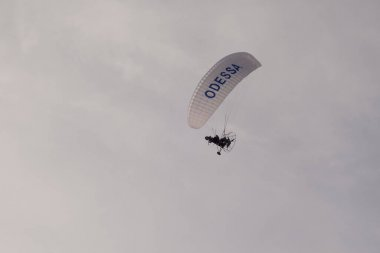 Paraglider on the lake over a sandy beach.