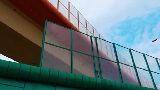Colorful bridge construction with blue sky