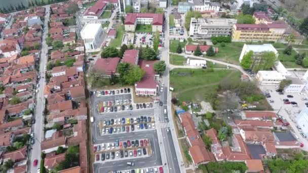 Aerial view of hospital building in Nis city in Serbia