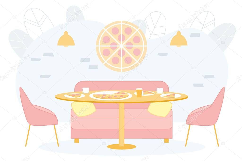 Bright Banner Trendy Pizzeria Interior Cartoon Exclusive Design Cafe Or Restaurant Italian Cuisine Aesthetics And Originality Institution Table Lies Pizza Next To Sofa And Chairs Premium Vector In Adobe Illustrator Ai