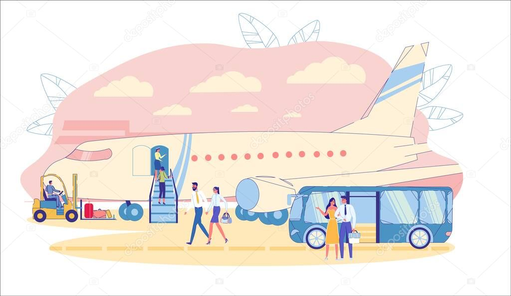 Airport Bus Brings Vip Of First Class Passengers On Airfield To Plane Stewardess Welcomes Smartly Dressed Business Class Passengers Ascending An Airplane Gangway Flat Cartoon Vector Illustration Premium Vector In Adobe Illustrator