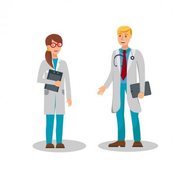 Medical Workers Flat Color Vector Illustration