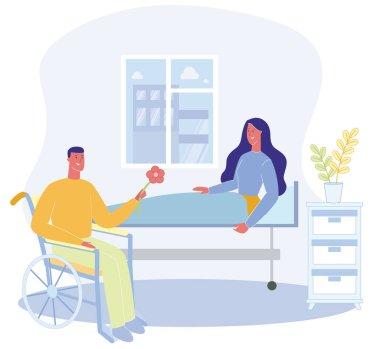 Woman Sit on Bed Hospital Ward Man in Wheelchai