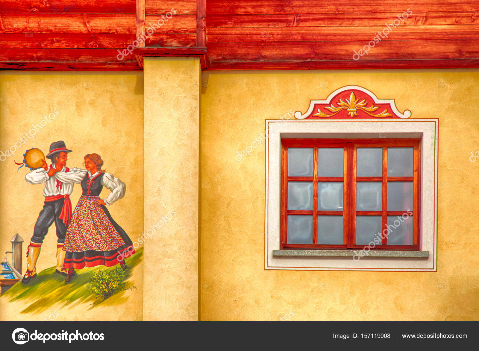 old alpine house with window and fresco – Stock Editorial Photo ...