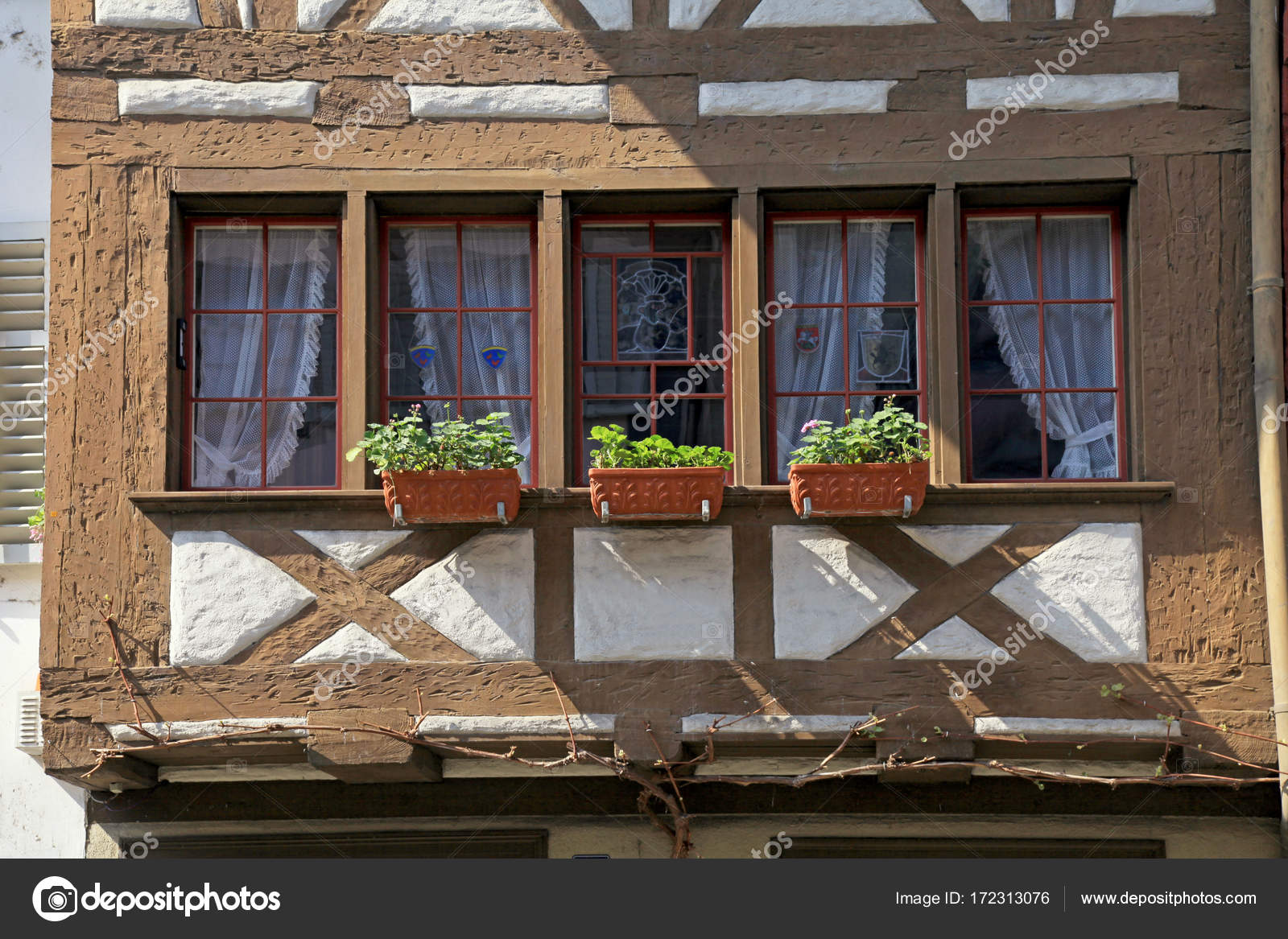 Traditionelles Fachwerk Fenster Balkon An Mittelalterliche Altstadt