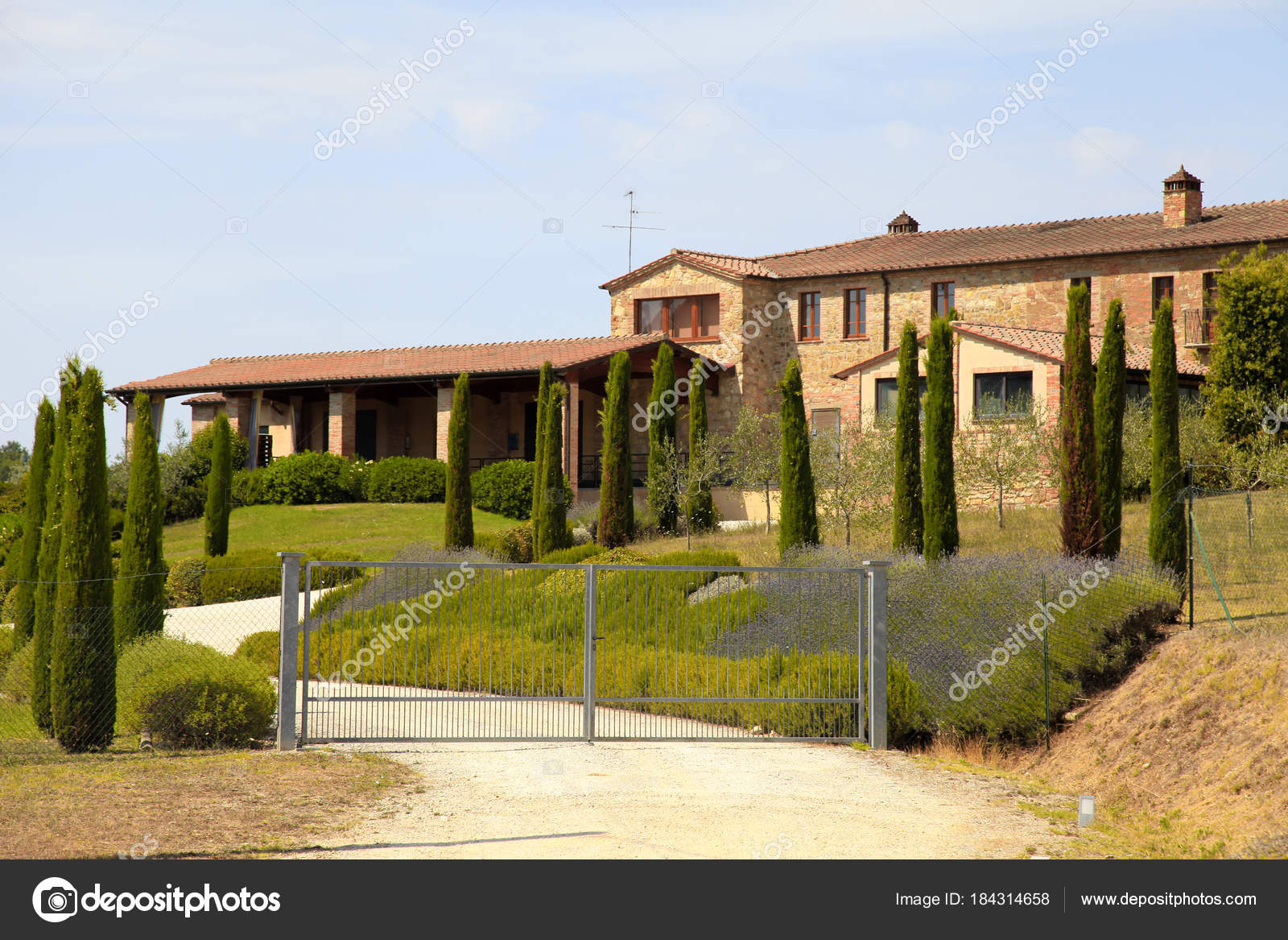 Tipico Paisaje Rural De Toscana Con House Italia Fotos De Stock