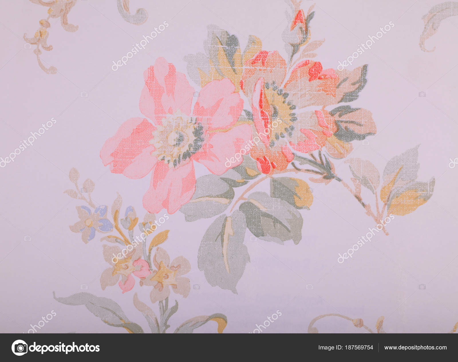 Wallpapers Shabby Chic Floral Wallpaper Vintage Run Down
