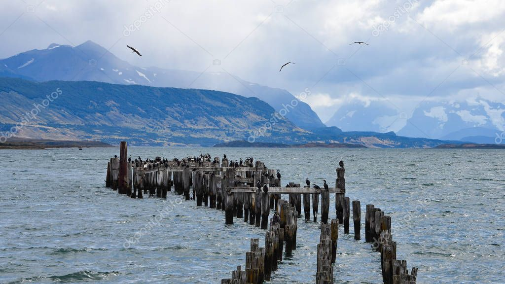 The Old Pier (Muelle Historico) in Almirante Montt Gulf in Patagonia - Puerto Natales, Magallanes Region, Chile