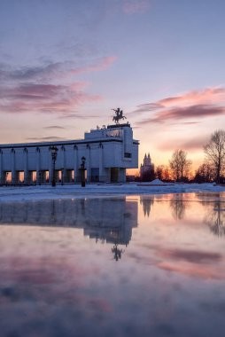 Moscow, Russia - February 22, 2019: Museum of victory in the winter sunset. Reflection. George the Victorious. Winners Square in Victory Park on Poklonnaya Hill