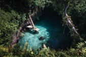 Fotografie green trees with clean blue water in pond of tropical wood in island of Samoa