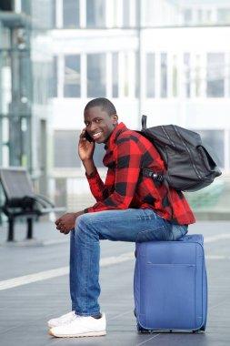 Traveler waiting at rail station