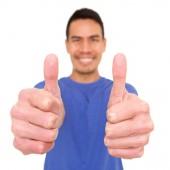 Fotografie Čtvercové portrét usměvavá starší Asiat vzdát palce na bílém pozadí