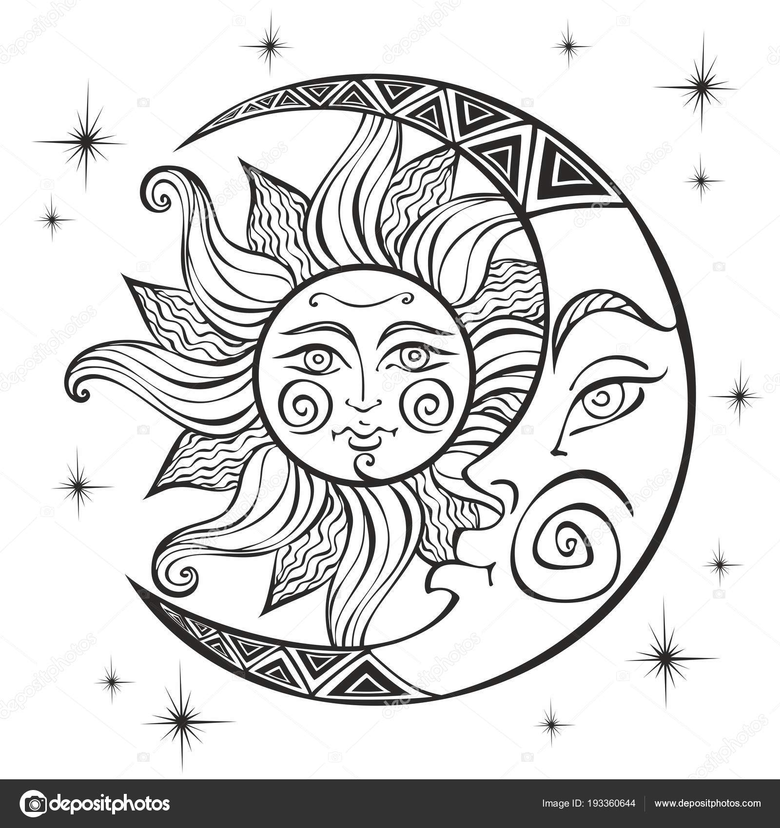 Moon Sun Ancient Astrological Symbol Engraving Boho Style Ethnic
