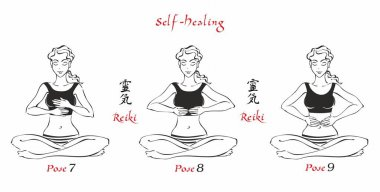 Self-Healing.   The energy of reiki. Poses hands for healing. The set of files. File 3. 3 positions. A total of 12 positions. Alternative medicine. Spiritual healing. Esoteric. Vector.