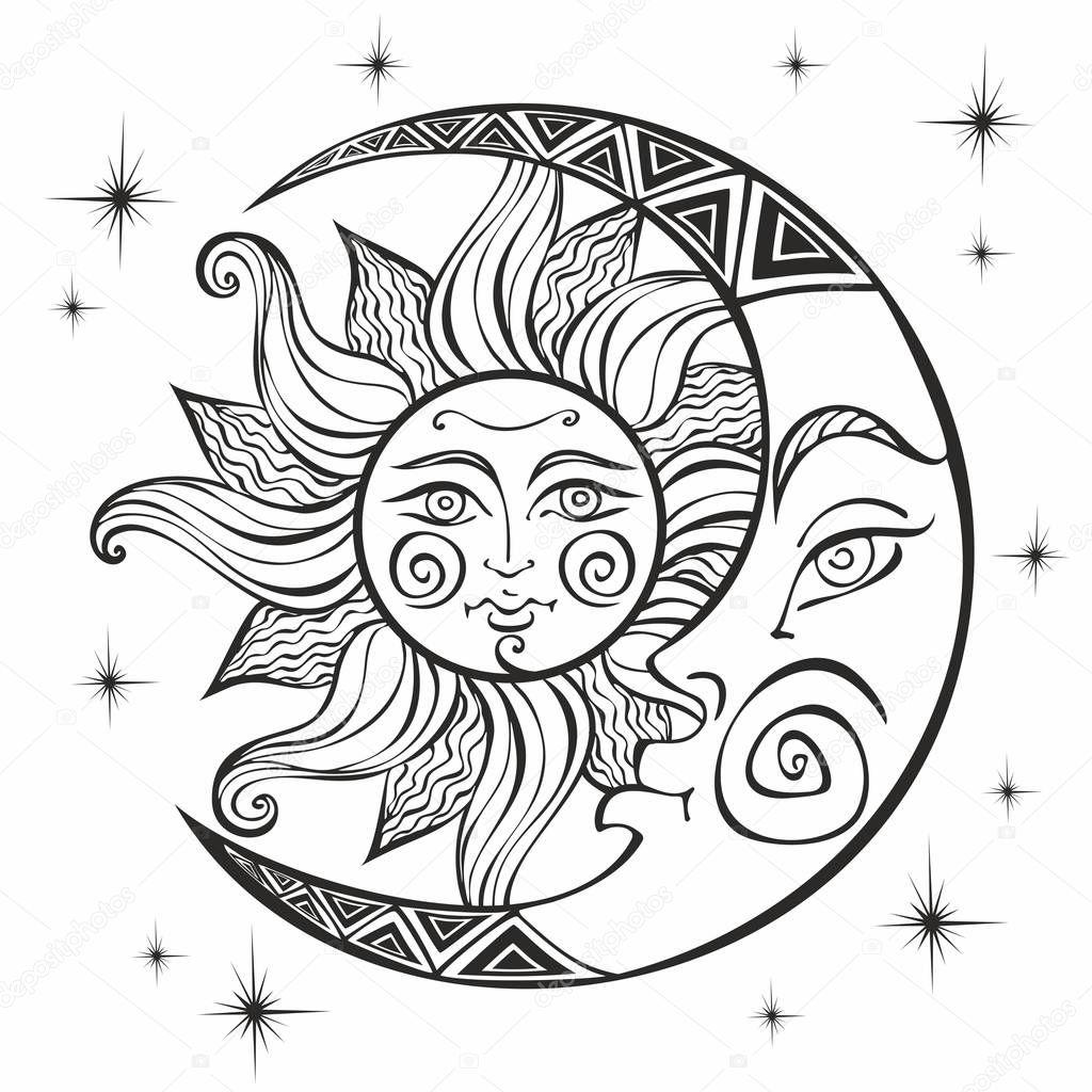 Lua Sol Antigo Símbolo Astrológico Gravura Estilo Boho ...