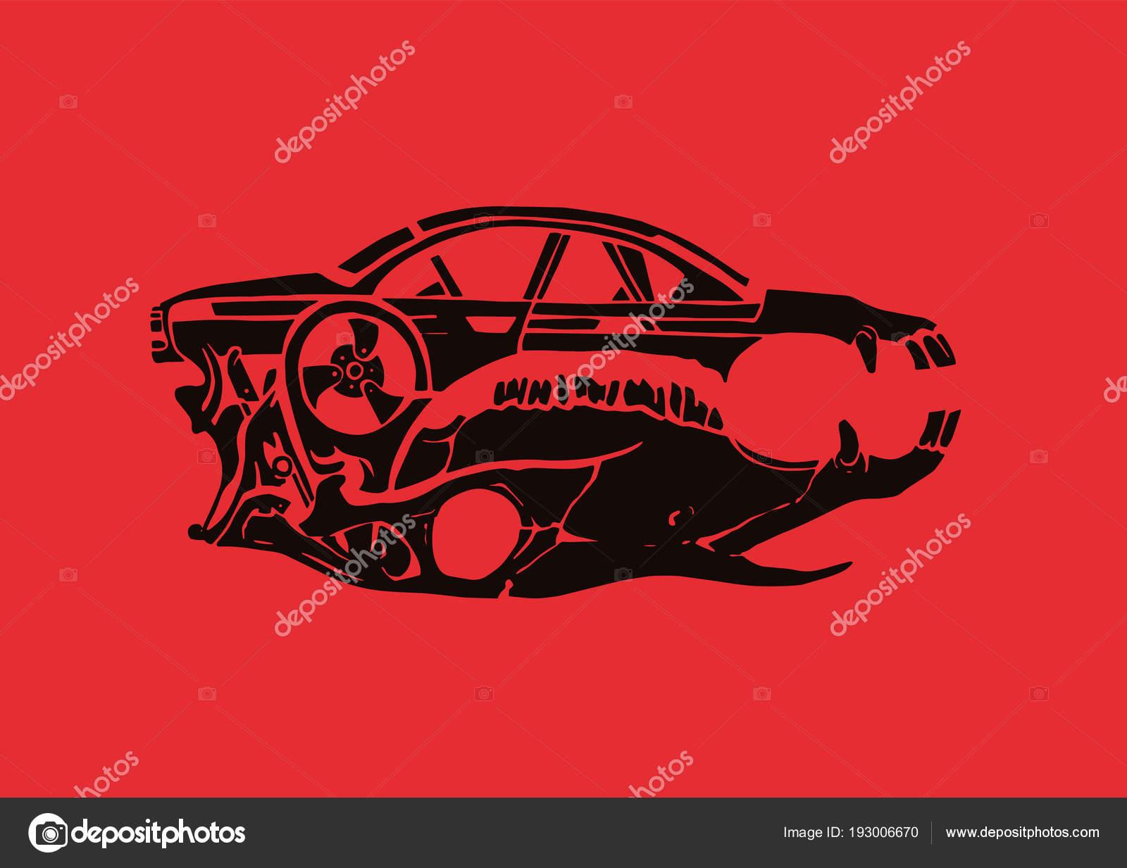 Car Horse Skull Red Background Luxury Vintage Car Automotive Sports