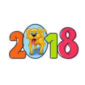 Žlutý pes čísla pro nový rok 2018, plochá abstraktní styl, nápis na bílém pozadí